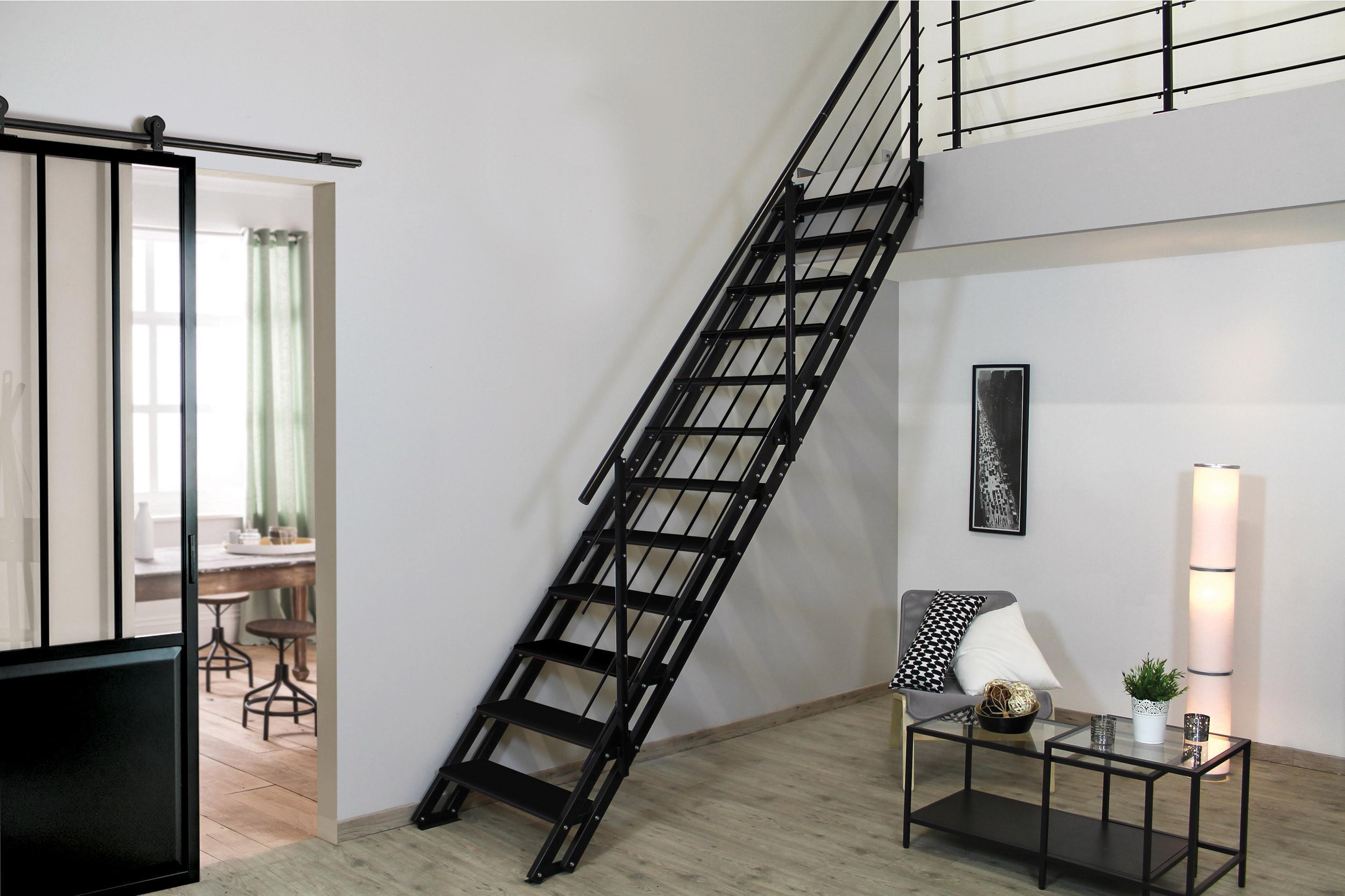 Escalier Bois Metal Noir escalier droit acier noir escavario 12 marches acier, l.90 cm