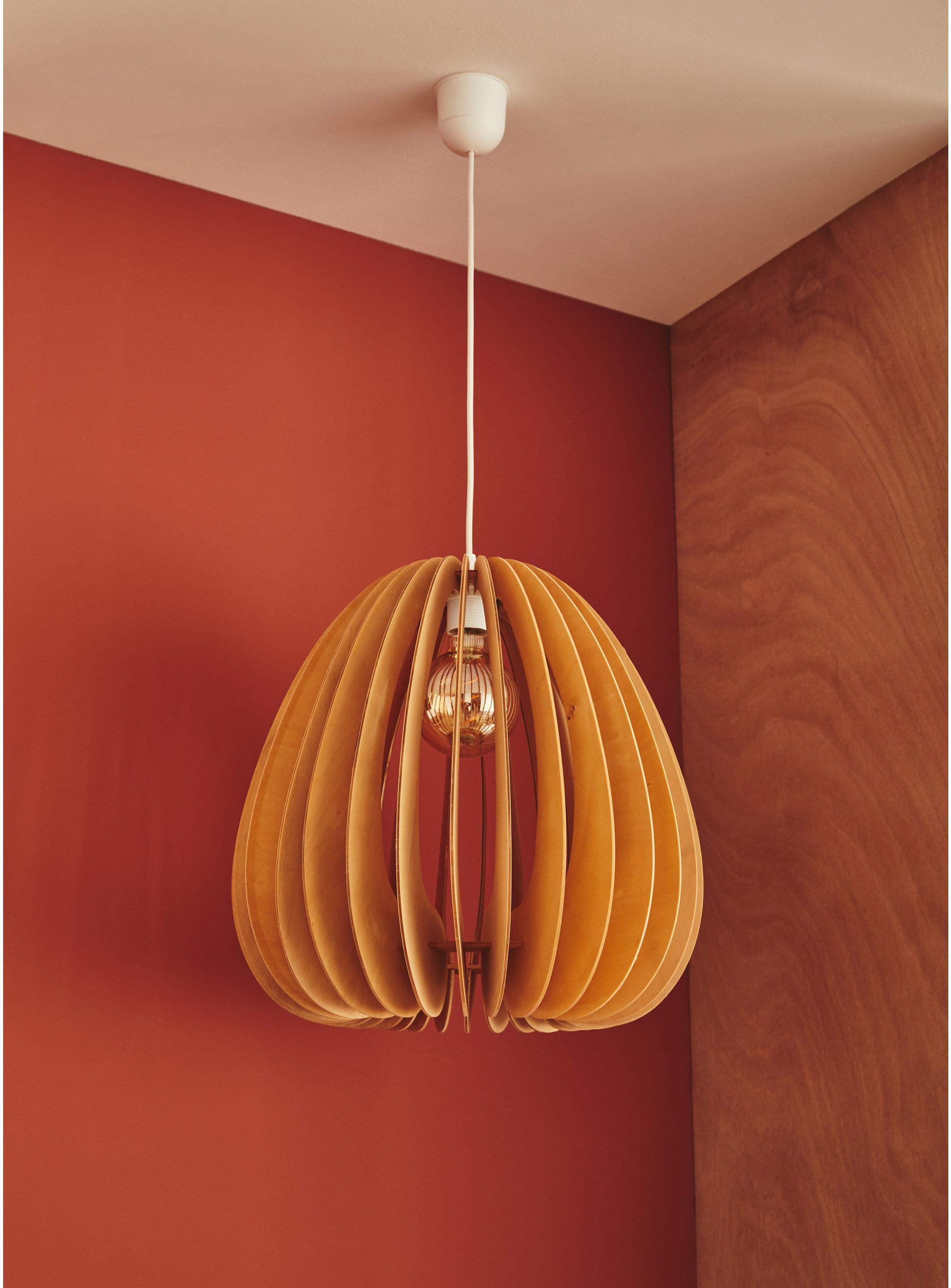 Suspension, nature bois peuplier naturel BOUDET 1 lumière(s) D.40 cm