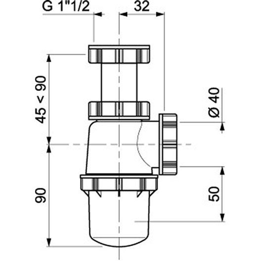 Siphon d'évier réglable evier 1 cuve