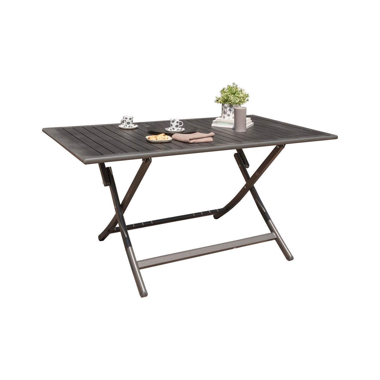 table de jardin miami rectangulaire gris anthracite 4 personnes leroy merlin. Black Bedroom Furniture Sets. Home Design Ideas