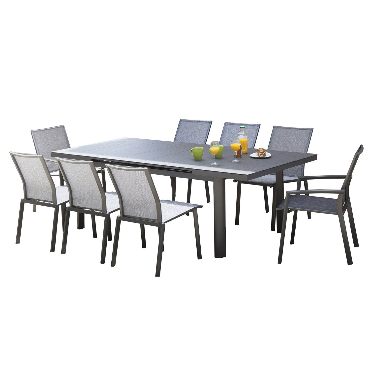 table de jardin bora rectangulaire gris 8 personnes leroy merlin. Black Bedroom Furniture Sets. Home Design Ideas