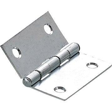 Charnière universelle acier pour meuble, L.40 x l.40 mm