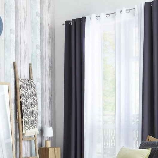voilage mathis blanc x cm leroy merlin. Black Bedroom Furniture Sets. Home Design Ideas