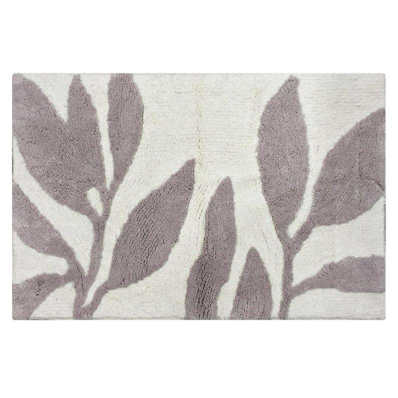 Tapis de bain l.50 x L.80 cm gris poivré n°5, Leaf SENSEA