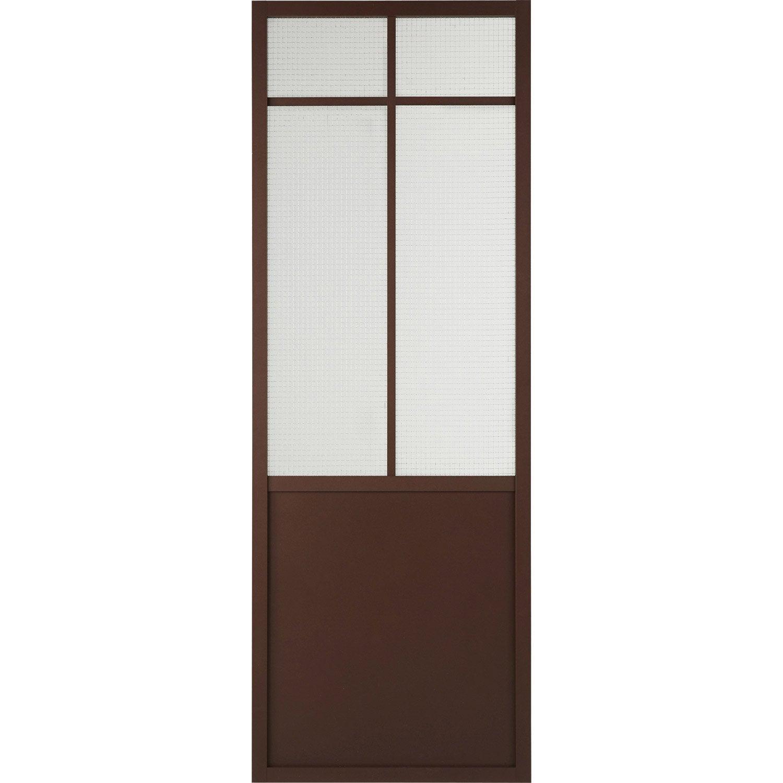 Porte coulissante laquée rouille Work ARTENS, H.204 x l.73 cm