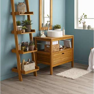 Stunning armoire salle de bain bois ideas design trends for Meuble salle de bain double vasque leroy merlin