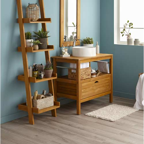 Meuble salle de bain et vasque leroy merlin for Salle de bain avec meuble en bois