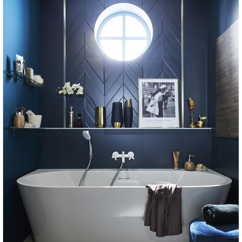 Faience Mur Bleu Decor Home Chevron Mat L 40 X L 80 Cm Leroy Merlin