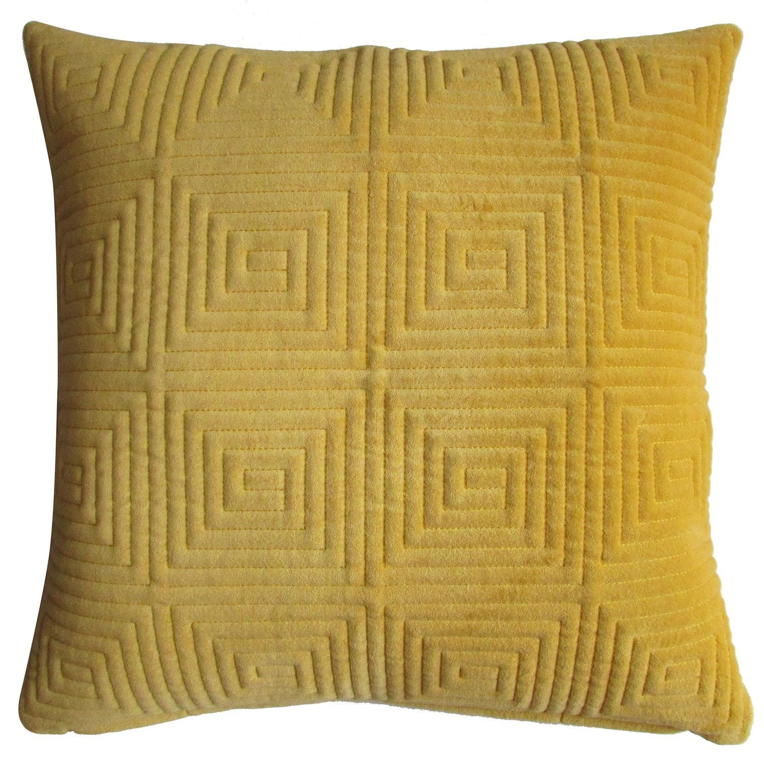 Coussin Moira INSPIRE, moutarde l.45 x H.45 cm