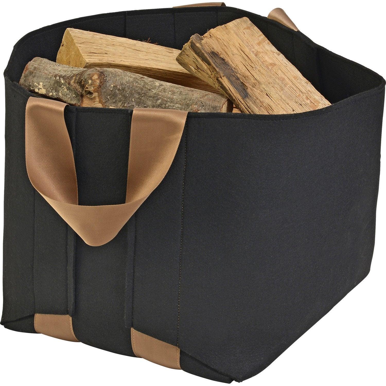 Sac à bûches noir DIXNEUF Wool l.40 x H.38 cm