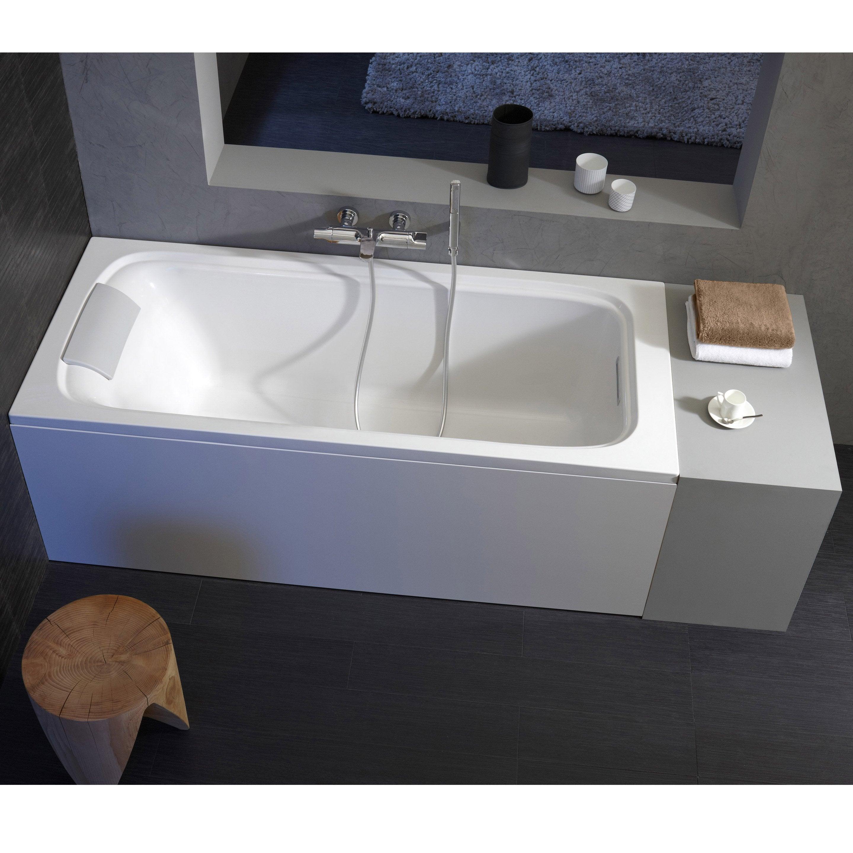Baignoire Beton De Synthese baignoire rectangulaire l.170x l.70 cm blanc, jacob delafon elite