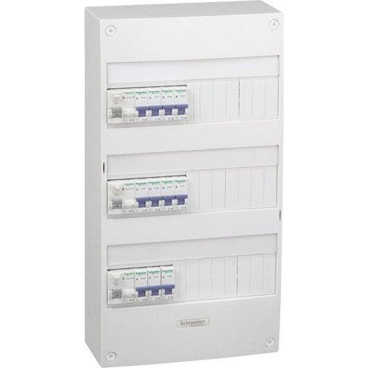 tableau lectrique pr quip pr c bl schneider electric 3 rang es 39 modules. Black Bedroom Furniture Sets. Home Design Ideas