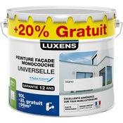 Peinture façade universelle LUXENS, blanc, 10L + 20% gratuit