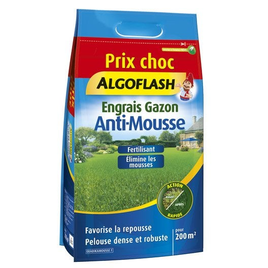 Engrais gazon anti mousse algoflash 6kg 200m2 leroy merlin - Anti mousse leroy merlin ...