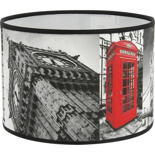 abat jour londres big ben 20 cm tissu multicolore leroy merlin. Black Bedroom Furniture Sets. Home Design Ideas