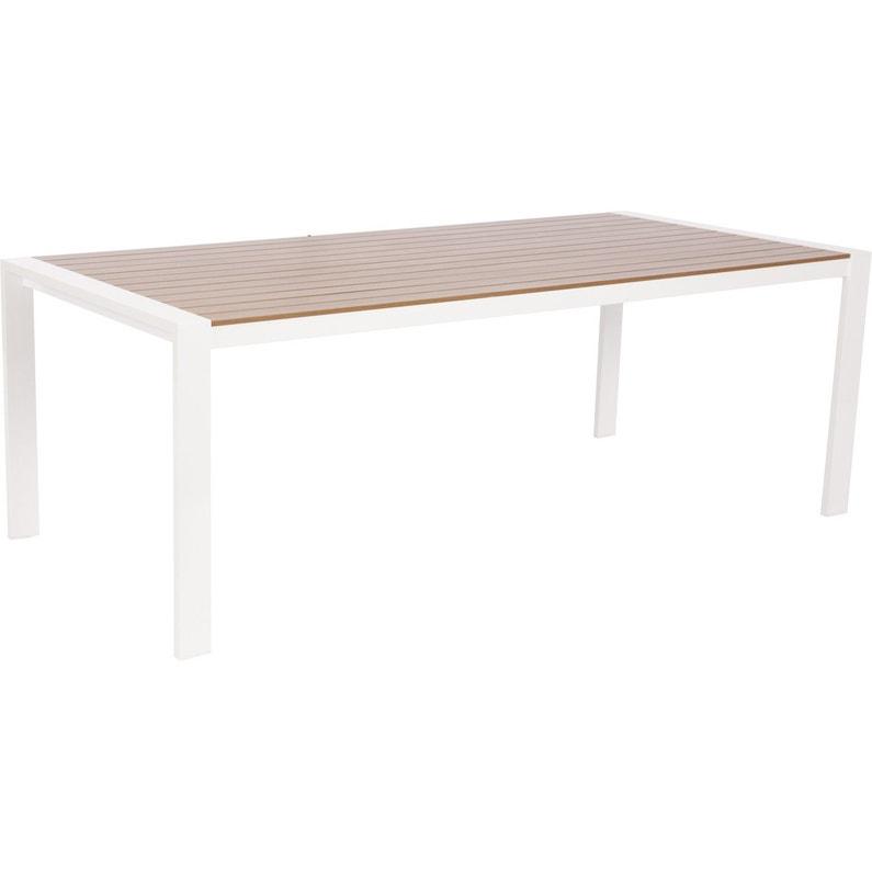 Table de jardin Port nelson rectangulaire blanc / imitation teck 8 personnes