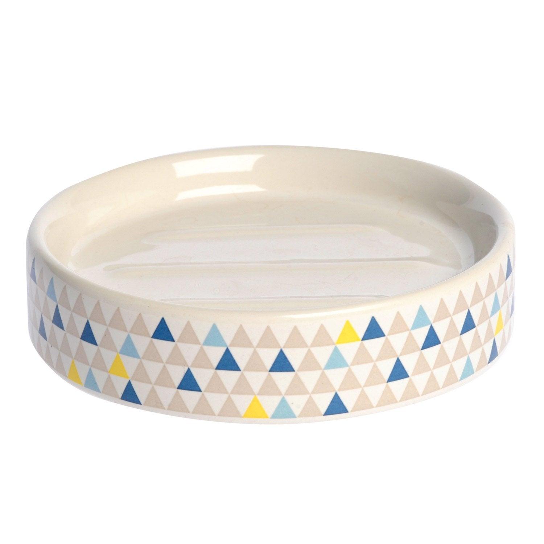Porte-savon céramique Geometric, bleu gris vert jaune