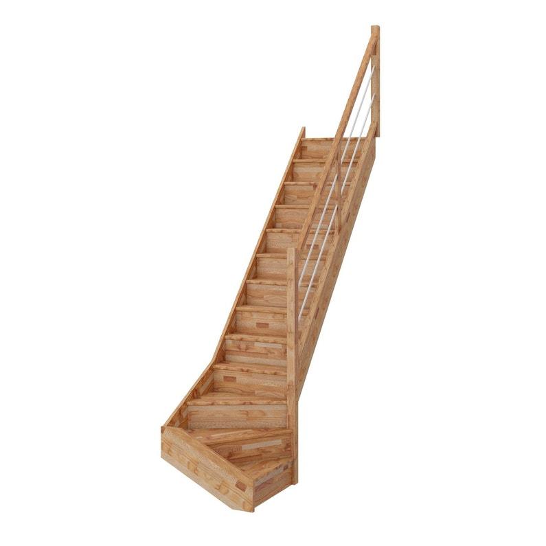 Escalier 14 T Bas Droit Bois Hêtre Deva 2 Tubes 13 Mar Hêtre Rampe D L76