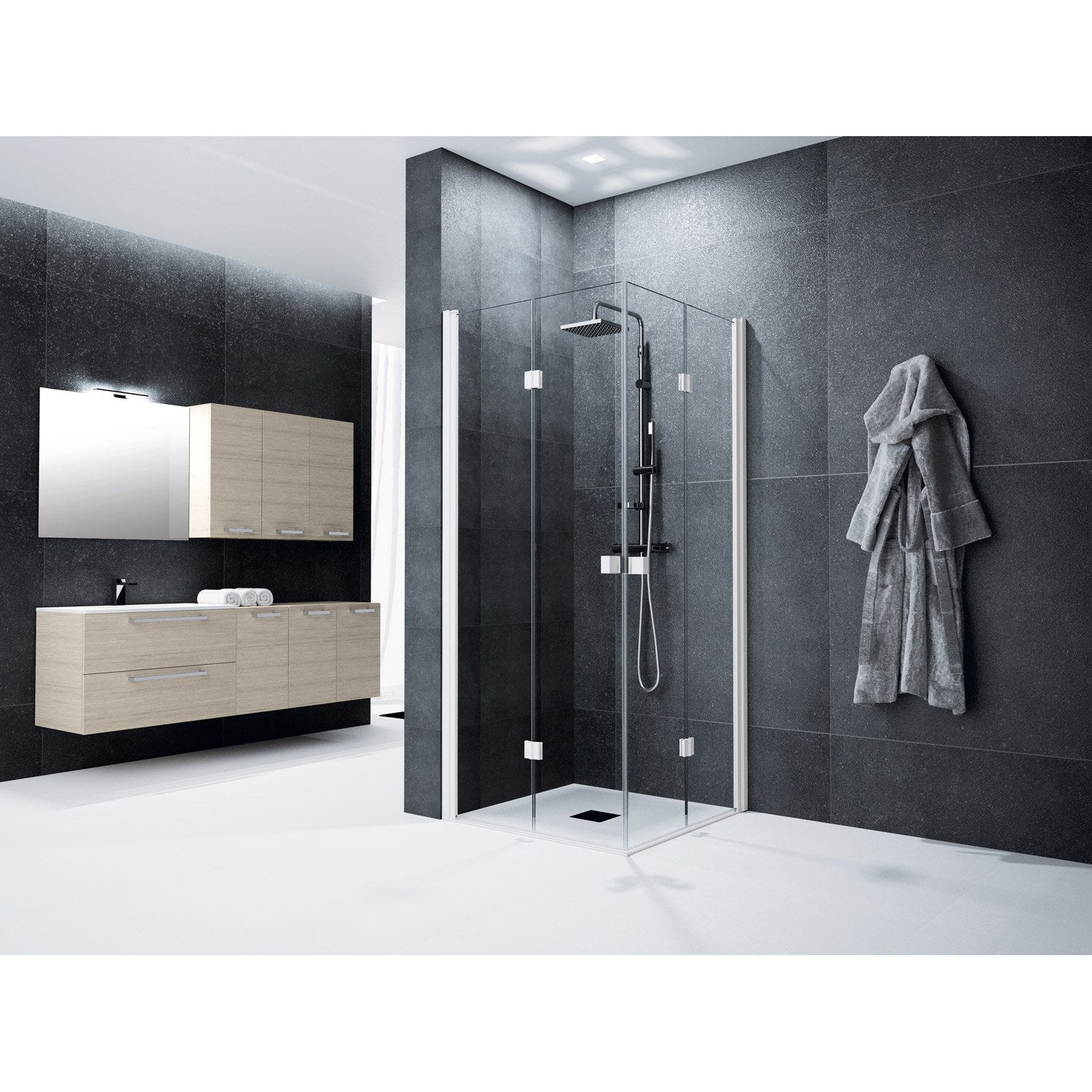 porte de douche angle carr cm x cm transparent neo leroy merlin. Black Bedroom Furniture Sets. Home Design Ideas