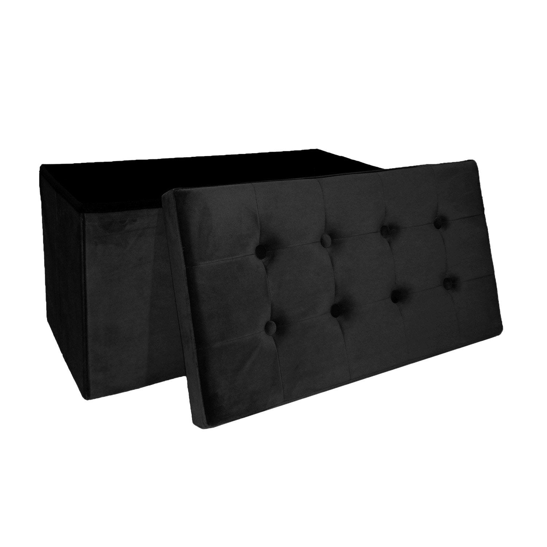 Pouf Dintérieur Noir Banc Pliable Velours 76 X 38