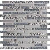 Mosaïque 4+1 Ice tendance, gris et chromé, 30 x 30 cm