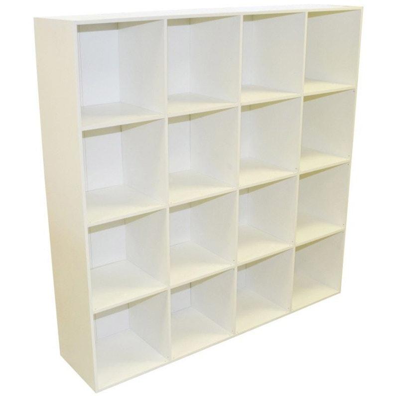 Etagère 16 cases MULTIKAZ, blanc H.137.2 x l.137.2 x P.31.7 cm