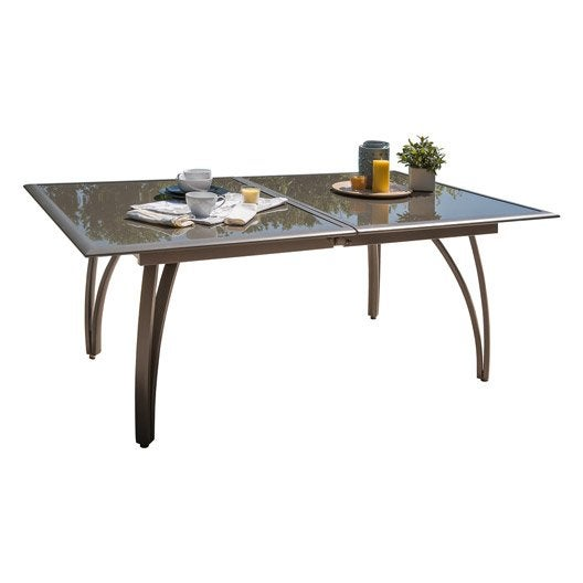 table de jardin rectangulaire brun marron 10 personnes leroy merlin. Black Bedroom Furniture Sets. Home Design Ideas