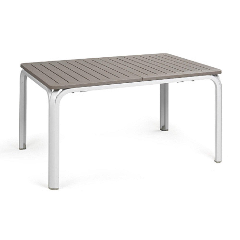 Table de jardin alloro rectangulaire taupe et blanc 8 - Taupe et blanc ...