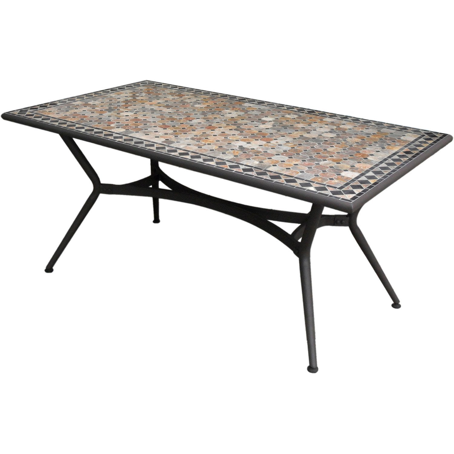 Table de jardin Marocco rectangulaire anthracite, 6 personnes ...