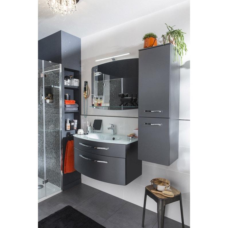 Meuble de salle de bains l.89 x H.48.2 x P.48.3 cm, gris métal, Image