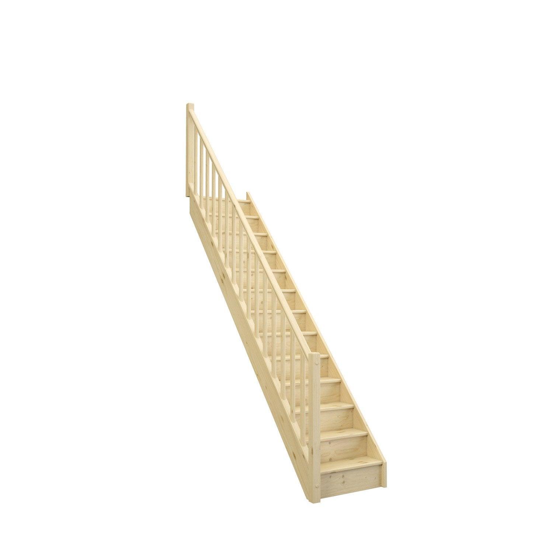 Escalier Droit Bois Sapin Deva 2 13 Marches Sapin Naturel L 76