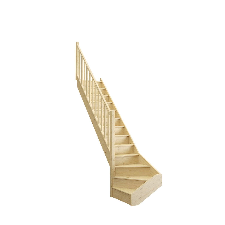 Escalier Bois Entre Deux Murs escalier 1/4 tournant bas gauche bois sapin deva 2 13 marches sapin, l.76
