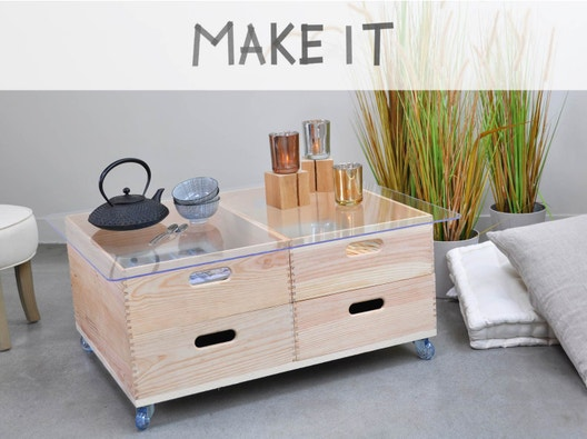 Diy Créer Une Table Basse Roulante En Bois Et Verre Leroy Merlin