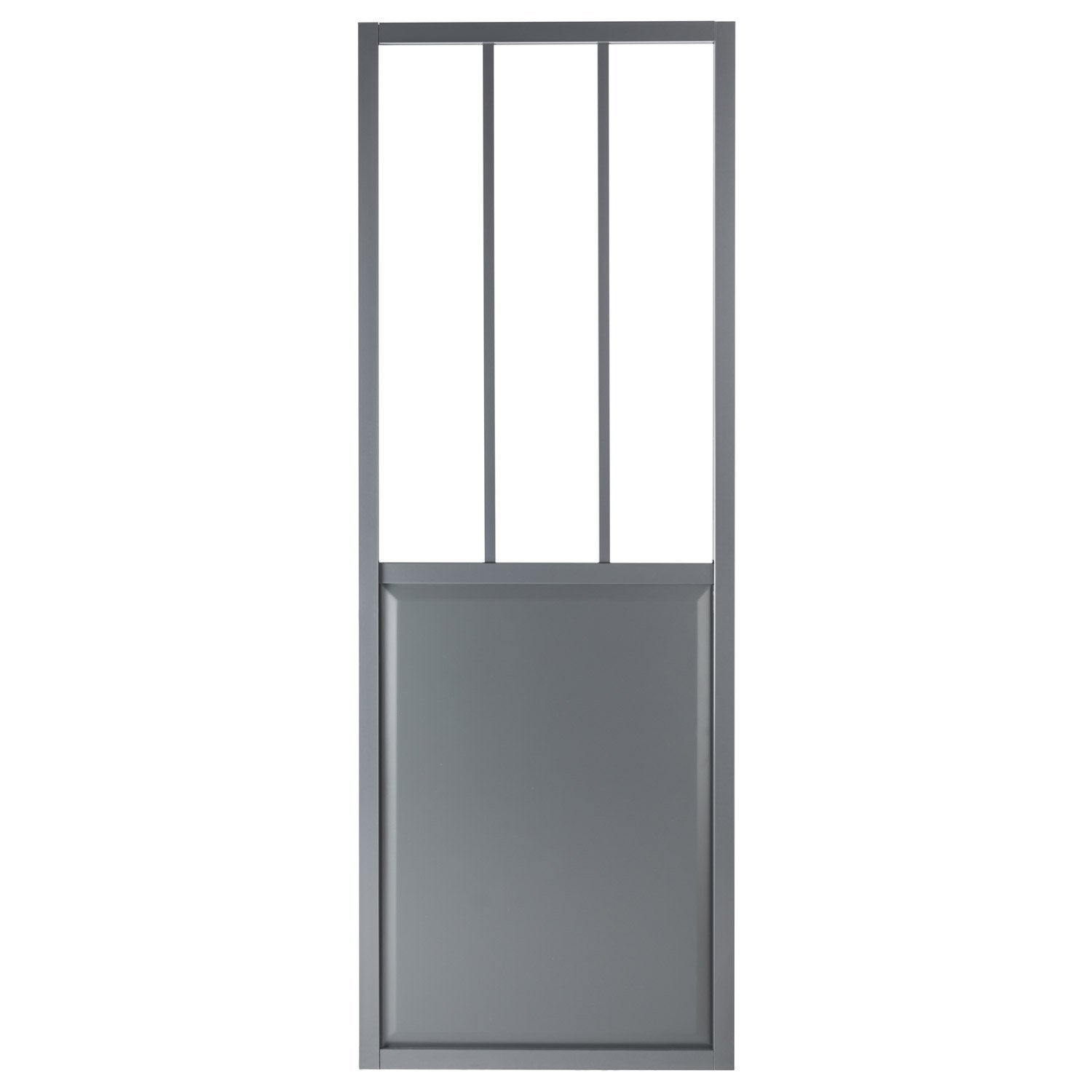 Porte coulissante aluminium gris fonc verre tremp for Porte interieure 73