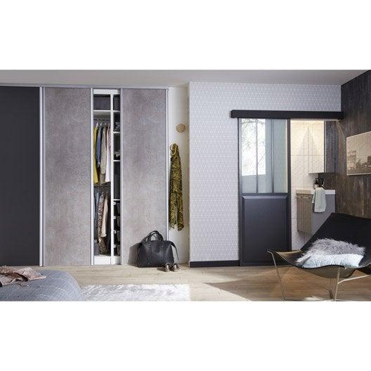 porte coulissante aluminium gris fonc verre tremp. Black Bedroom Furniture Sets. Home Design Ideas