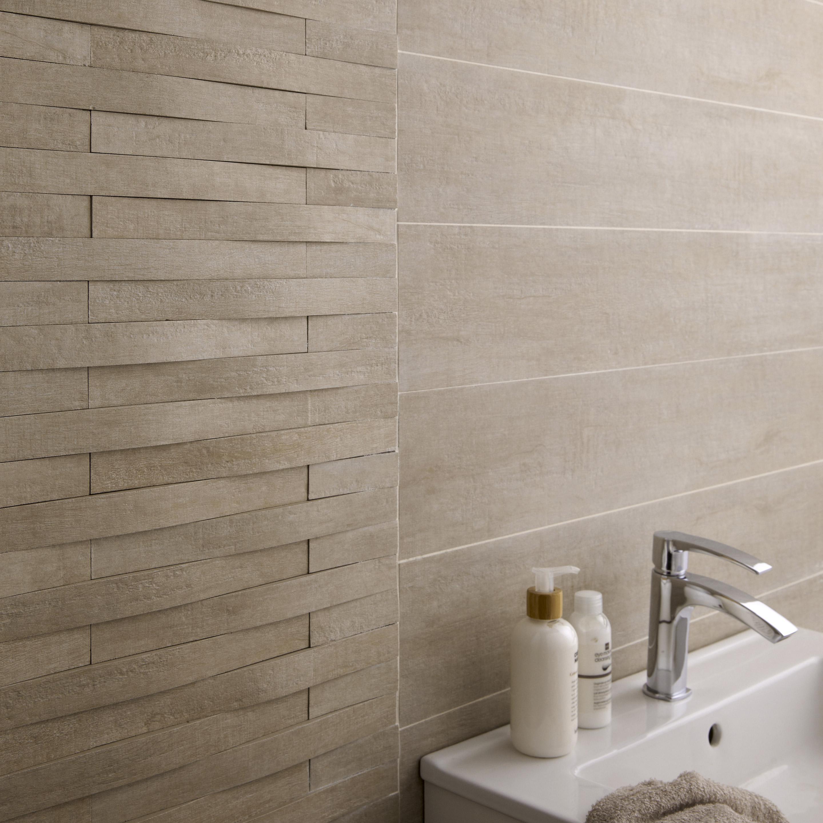 Carrelage mur et sol bois beige mat l.15 x L.90 cm, Taiga