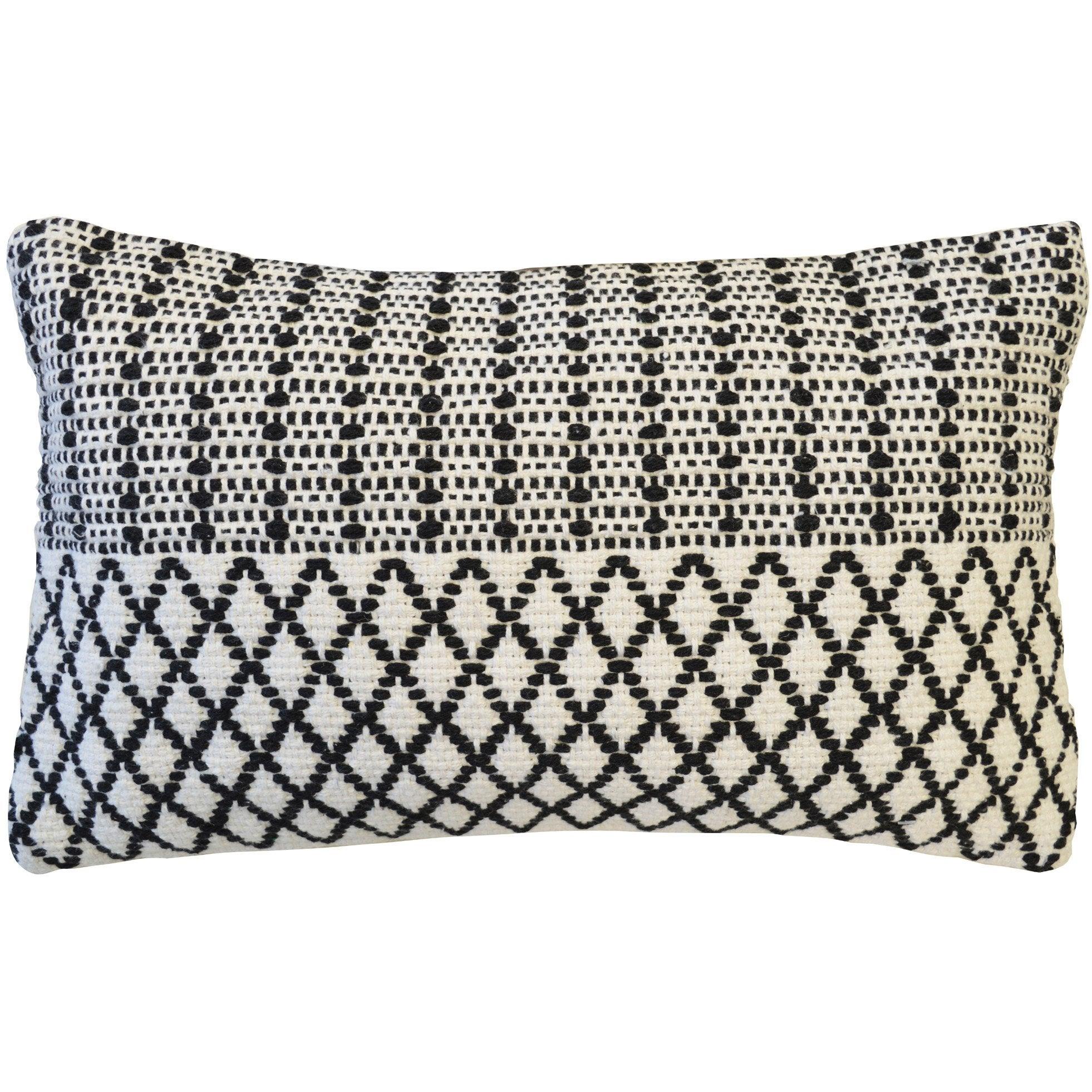 Coussin Haseya INSPIRE, blanc / noir l.30 x H.50 cm