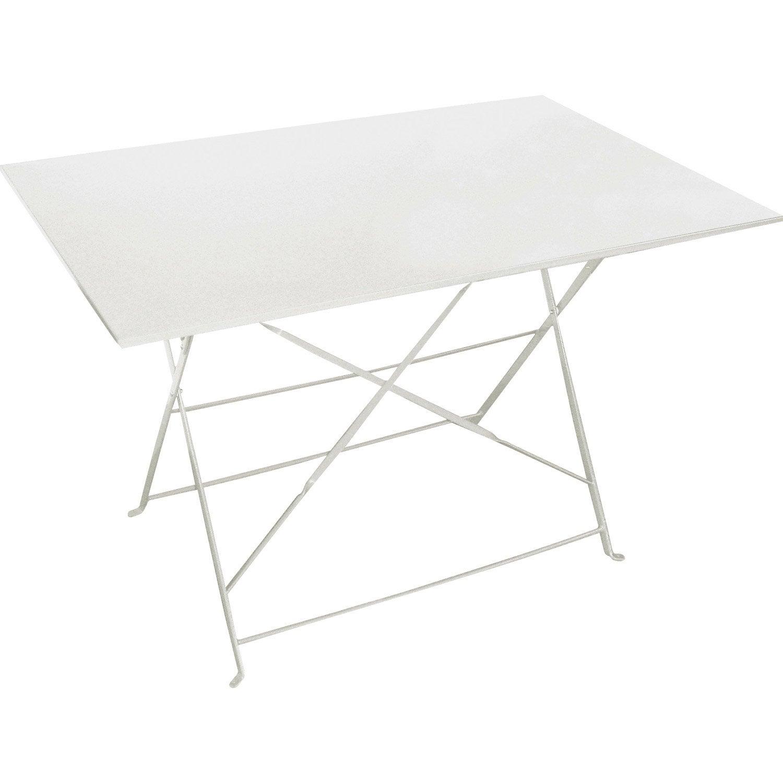 Table de jardin de repas Flore rectangulaire blanc 4 personnes ...