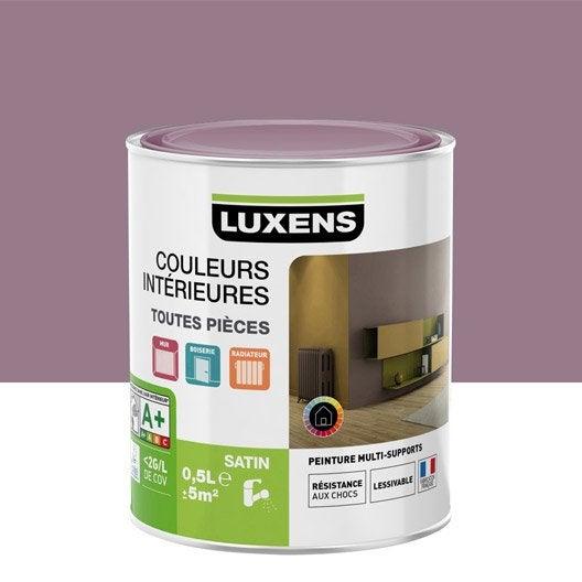 Peinture violet aubergine 4 luxens couleurs int rieures satin 0 5 l leroy merlin for Peinture couleur aubergine