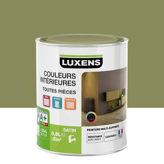 peinture multisupports couleurs int rieures satin luxens vert kaki n 2 0 5 l leroy merlin. Black Bedroom Furniture Sets. Home Design Ideas