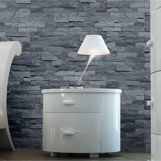 plaquette de parement quartzite sans joint en pierre naturelle noir leroy merlin. Black Bedroom Furniture Sets. Home Design Ideas