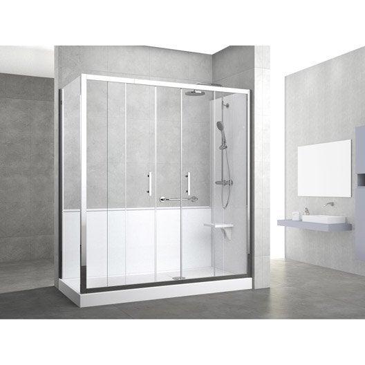 kit de remplacement baignoire par douche entre 2 murs 170 x 80 cm elyt evolution leroy merlin. Black Bedroom Furniture Sets. Home Design Ideas