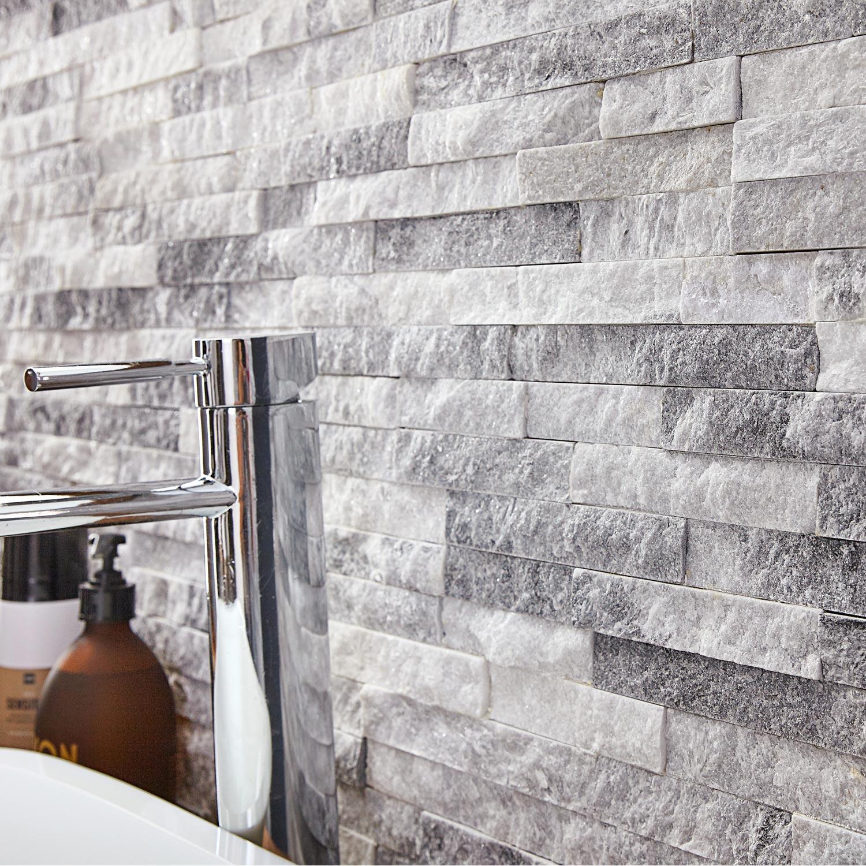 Plaquette de parement pierre naturelle blanc Ultra artic | Leroy Merlin