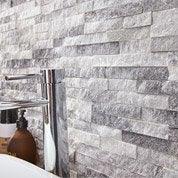 Plaquette de parement pierre naturelle blanc marbré Ultra