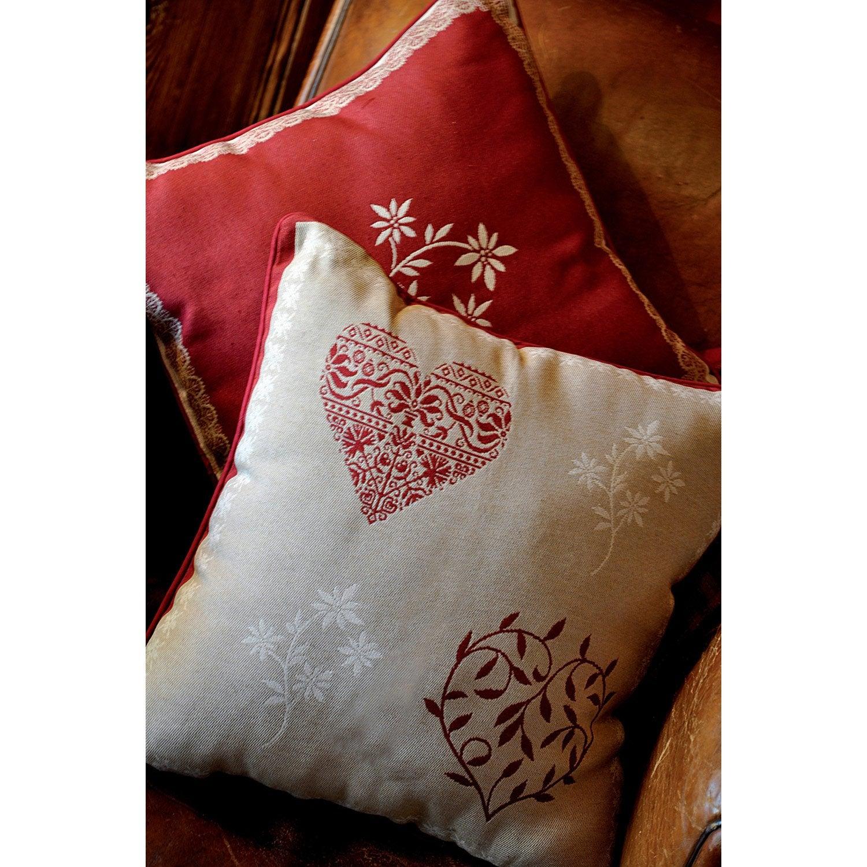 Coussin Modane, rouge l.40 x H.15 cm
