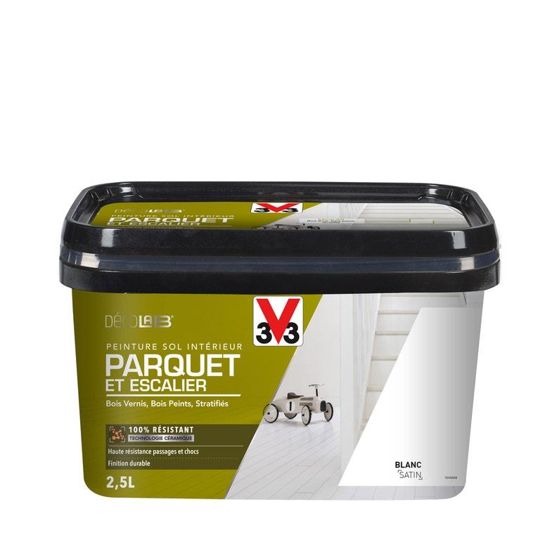 Peinture Sol Intérieur Decolab Sol 100 Parquet V33 Blanc 25 L
