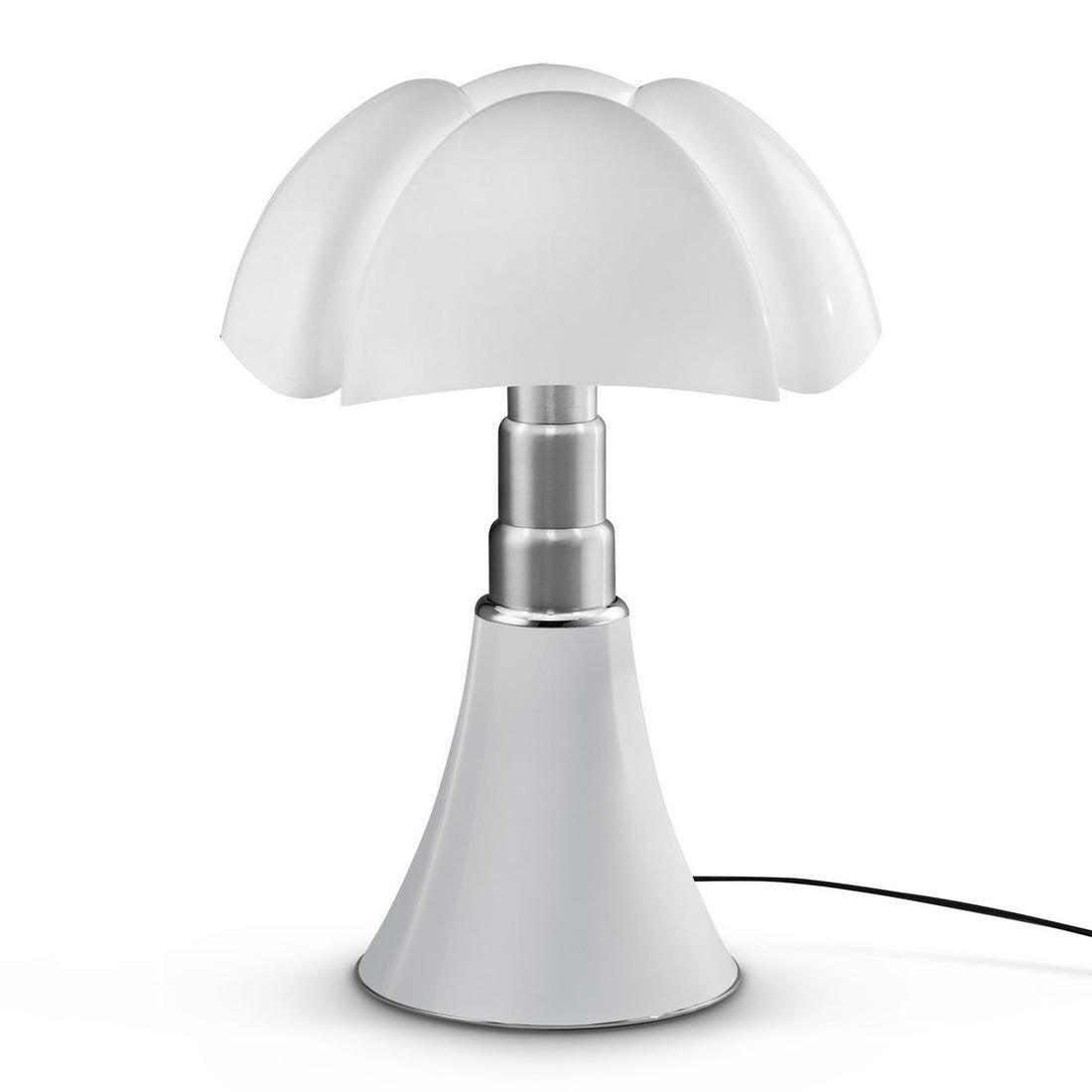 Lampe design Pipistrello blanc, 4 ampoules, pied télescopique, H.66-88cm