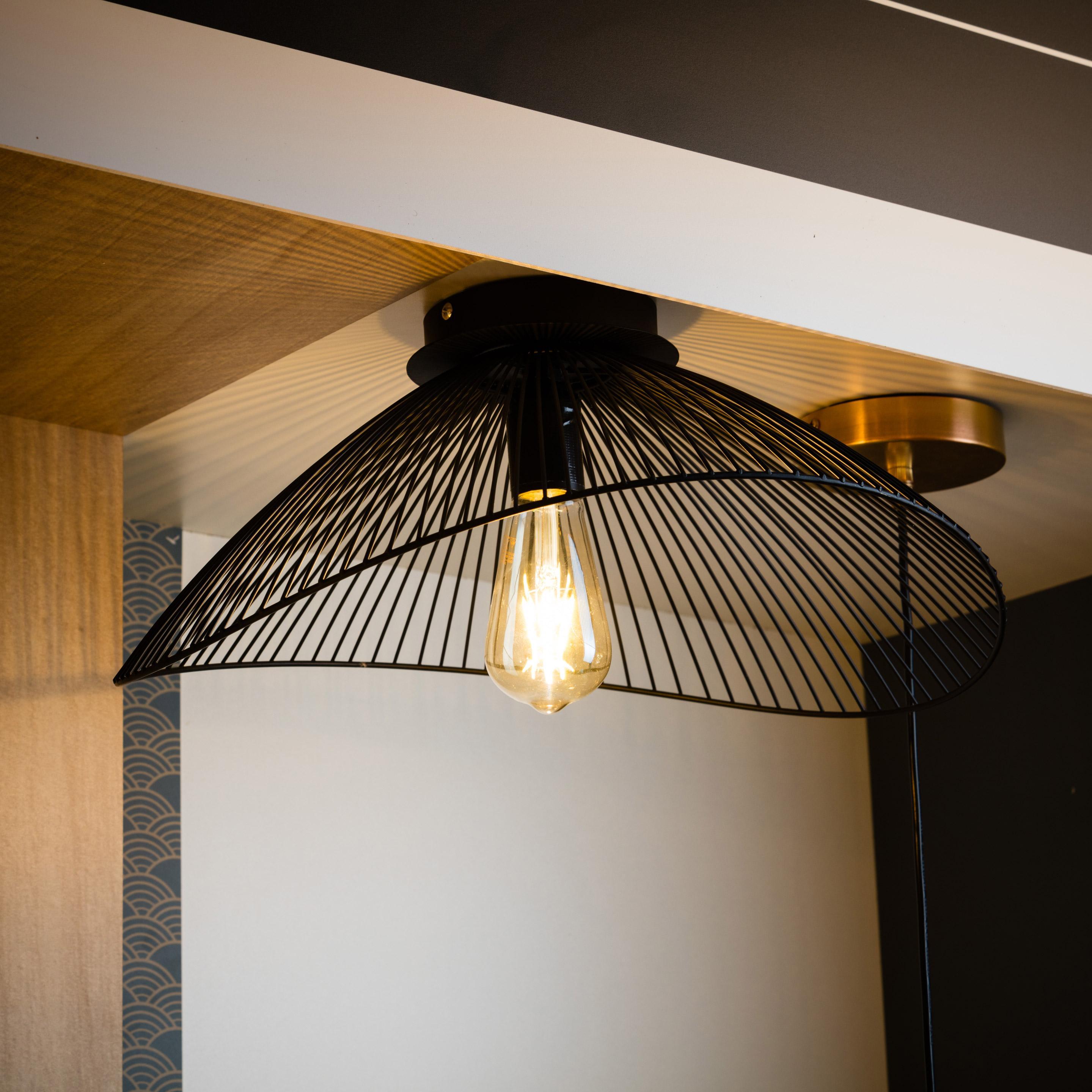 Lampe Plafond Salon Design plafonnier, design métal noir seynave kasteli d.45 cm