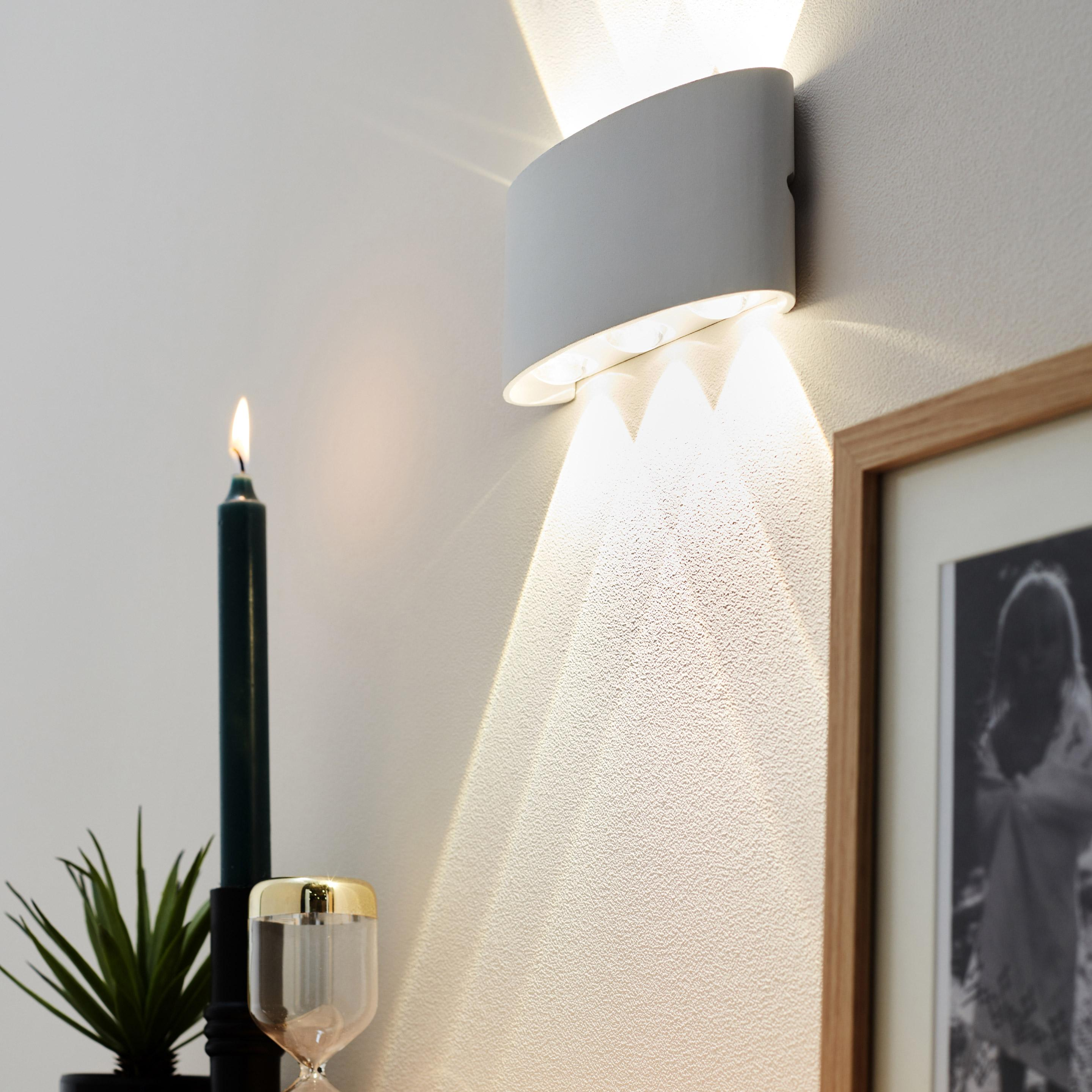 Superbe Applique, Design Acier Inoxydable Blanc LUSSIOL SQUEEZY 6 Lumière(s)