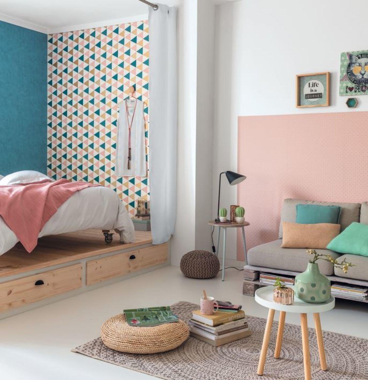 Chambre Parentale Bleu Canard une chambre d'ado avec des rangements sous le lit   leroy merlin